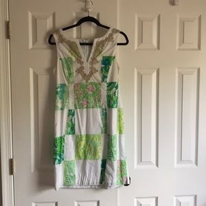 White with patch print Lilly Pulitzer dress